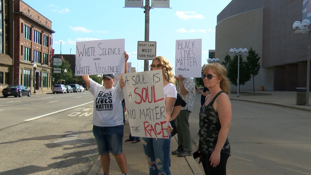 Local protesters are stand against events in Charlottesville, Virginia