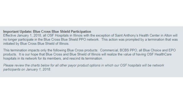 Blue Cross-Blue Shield and OSF End Network Affiliation