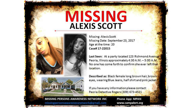 The search for missing 20-year-old Alexis Scott continues.