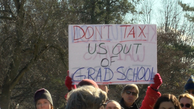 ISU graduate students protest tax bill