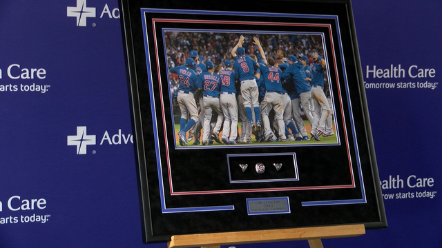 The Chicago Cubs 2016 World Series ring on display